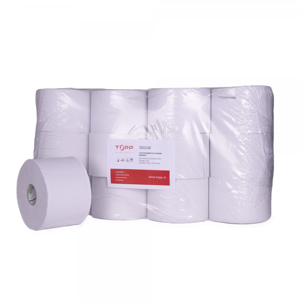 300248 TOPP Toiletpapier 2-lgs, 24x100m, compactrol, recycled, wit